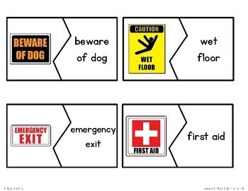 Warning & Safety Sign Puzzles {Reading in Real Life}