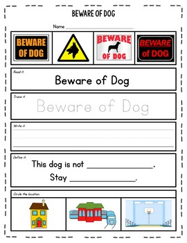 Warning & Safety Signs Worksheets {Reading in Real Life}