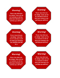 Warning desk cards (stop sign)