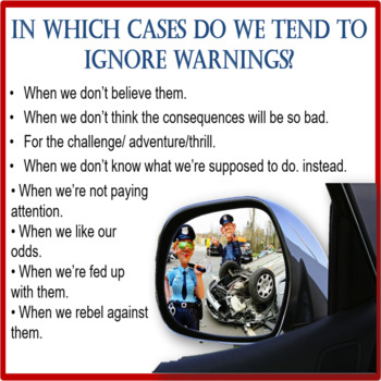 Warnings 1 – why do we ignore them? – ESL adult and kids conversation