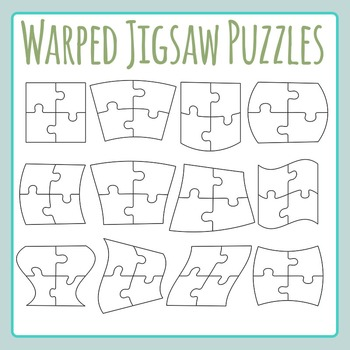 Warped Four Piece Jigsaw Puzzles Clip Art for Commercial Use
