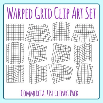 Warped Grid Clip Art for Patterns, Coloring, 100 boards, W