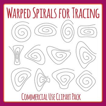 Warped Spirals Tracing or cutting (Fine Motor Control) Clip Art Commercial Use