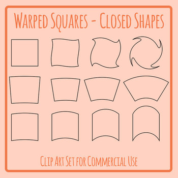 Warped Square Shapes / Outlines / Borders / Blank Templates Clip Art Set