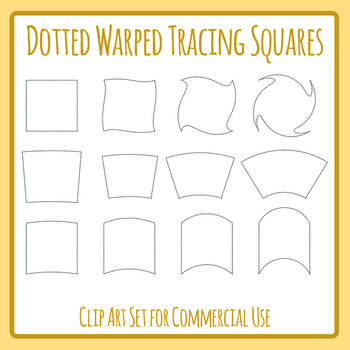 Warped Squares Tracing Dashed or Dotted Shapes For Pencil Control Clip Art