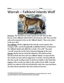 Warrah - Extinct Falkland Islands wolf - lesson facts information questions