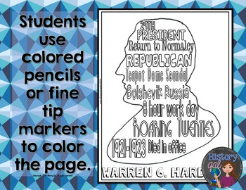 Warren G. Harding Coloring Page and Word Cloud Activity
