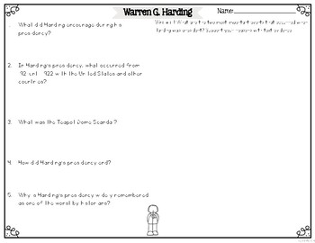 Warren G. Harding Differentiated Reading Passages & Questions