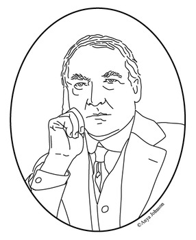 Warren G. Harding (29th President) Clip Art, Coloring Page or Mini Poster