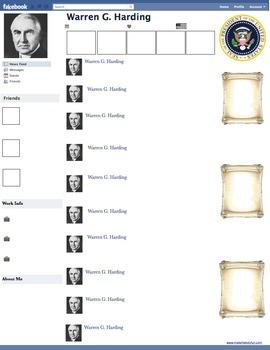 Warren G. Harding Presidential Fakebook Template