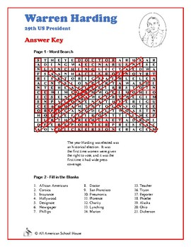 Warren Harding - Presidents Word Search and Fill in the Blanks