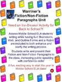 Warriner's Fiction / Non-fiction Paragraphs Unit