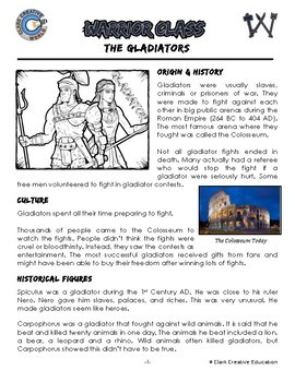Warrior Class - Gladiator Resources - Differentiated Leveled Reading & Fun