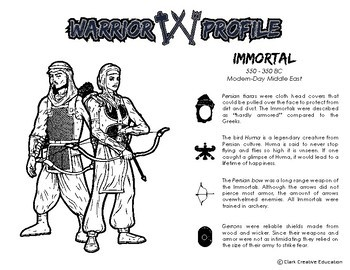 Warrior Class - Persian Immortals Resources - Differentiated Reading & Fun