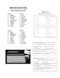 Warriors Don'r Cry Vocabulary Unit
