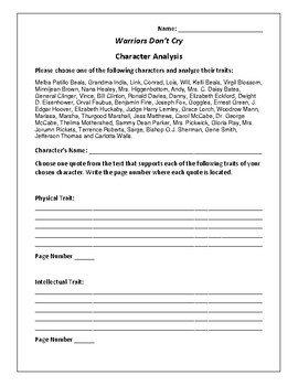 Warriors Don't Cry - Character Analysis Activity - Melba Patillo Beals