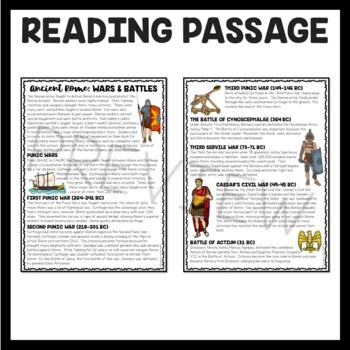 Wars and Battles in Ancient Rome  Reading Comprehension Worksheet; Roman Empire