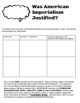 Was American Imperialism Justified: A Political Cartoon Activity