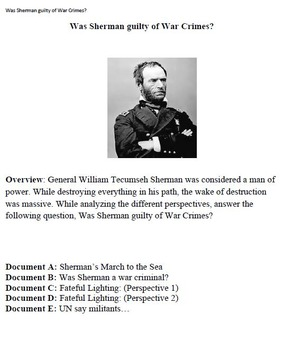 Was General Sherman guilty of war crimes? DBQ