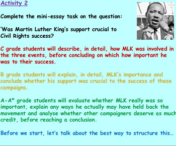 Was Martin Luther King crucial to Civil Rights success?(1hrPP 5 worksheets)
