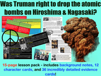 Truman & the Atomic bomb Character Cards & Card Sort