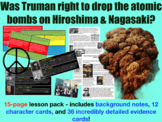 Atomic bomb: Hiroshima - 15-page full lesson (notes, character cards, card sort)