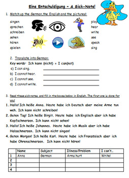Was ist los mit dir? / What's the matter? (Symptoms and sick-notes)
