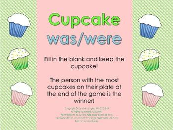 """""""Was/Were"""" Grammar Practice Cupcake Game grades K-2"""
