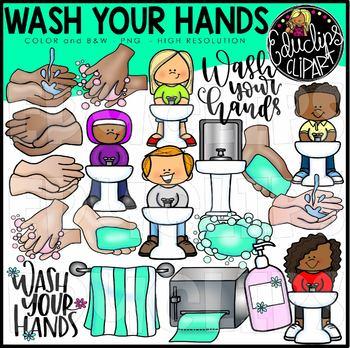 Wash Your Hands Clip Art Bundle {Educlips Clipart}