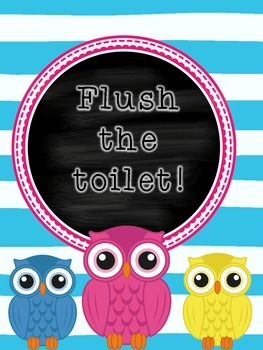 Wash Your Hands and Flush Toilet Owl Sign Poster