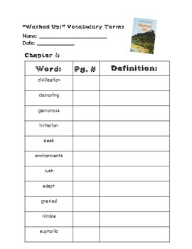 Washed Up! ReadyGen Chapter 1 -Vocabulary Terms & Reading Questions