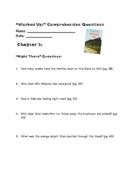 Washed Up! ReadyGen Chapter 3 -Vocabulary Terms & Reading Questions