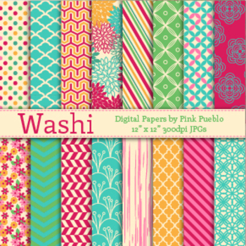 Washi Digital Printable Scrapbook Papers or Backgrounds