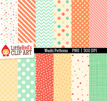 "Washi Patterns Digital Papers - ""Blossom"" Color Scheme"
