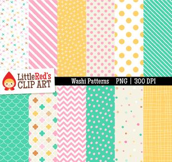 Washi Patterns Digital Papers - Pink Green Yellow