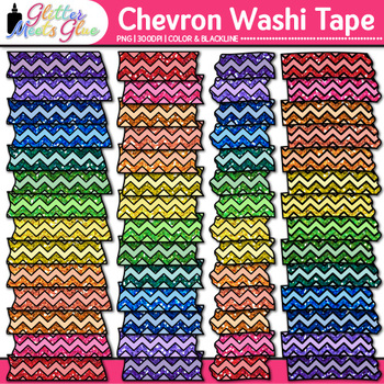 Chevron Washi Tape Clip Art {Glitter Graphics & Page Elements for Worksheets}