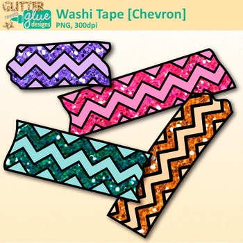 Chevron Washi Tape Clip Art | Glitter Graphics & Page Elements for Worksheets