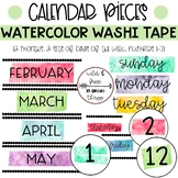 Watercolor Washi Tape Calendar (12 months, 2 sets of days of week, numbers 1-31)