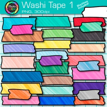 Rainbow Washi Tape Clip Art {Marker Effect Strips for Digital Resources } 1