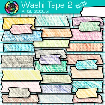 Rainbow Washi Tape Clip Art {Crayon Effect Strips for Digital Resources } 2