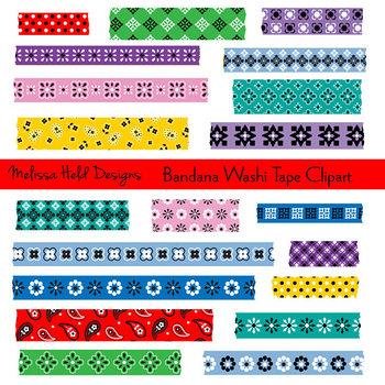 Washi Tape Clipart: Bandana Patterns