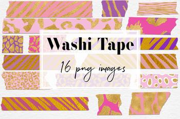 Washi Tape Clipart - Gold Animal Print