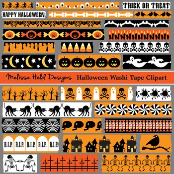 Washi Tape Clipart: Halloween Theme