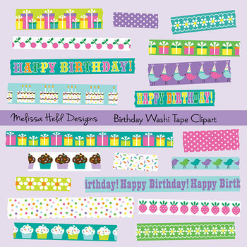 Washi Tape Clipart: Happy Birthday Patterns