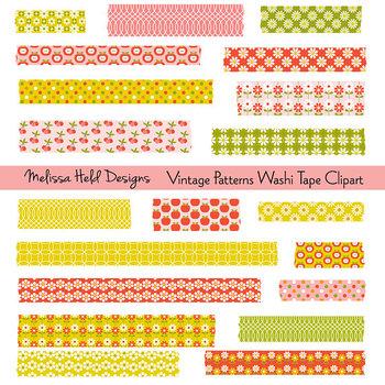 Washi Tape Clipart: Retro Vintage Patterns