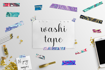 Washi Tape Clipart, Modern Marble Patterns, Washi Clipart, Washi Tape Graphics