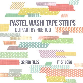 Washi Tape Strips Clip Art Images, Pastel Washi Tape Border Strips, TpT Sellers