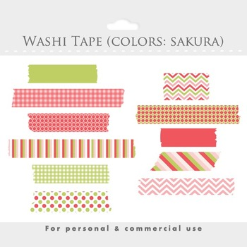Washi tape clipart - clip art, masking tape, Japanese tape, cherry tree pink
