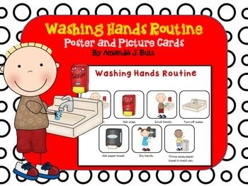 Washing Hands Routine Picture Cards and Poster (Communicat