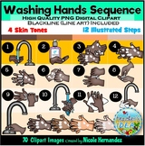 Washing Hands Sequence Clip Art for Personal and Commercial Use